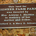 Pioneer Farm Park Plaque At Andersonville Georgia by Kim Pate