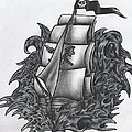 Pirate Ship Bw by Melissa Sink
