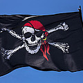 Pirate Skull Flag With Red Scarf by Garry Gay