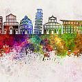 Pisa Skyline In Watercolor Background by Pablo Romero