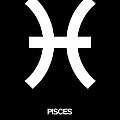 Pisces Zodiac Sign White and Black by Naxart Studio