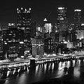 Pittsburgh Black And White Night by Frozen in Time Fine Art Photography