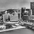 Pittsburgh Black And White Winter Panorama by Adam Jewell
