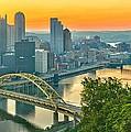 Pittsburgh Orange Skyline by Adam Jewell