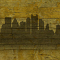 Pittsburgh Pennsylvania City Skyline Silhouette Distressed On Worn Peeling Wood No Name Version by Design Turnpike