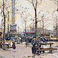 Place De La Bastille Paris by Eugene Galien-Laloue