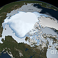 Planet Earth Showing Sea Ice Coverage by Stocktrek Images
