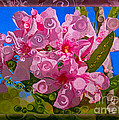 Playful Plumeria Abstract Garden Art Painting by Omaste Witkowski