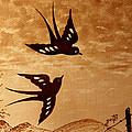 Playful Swallows Original Coffee Painting by Georgeta  Blanaru