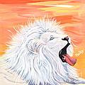 Playful White Lion by Phyllis Kaltenbach