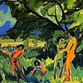 Playing Nudes Under Trees by Ernst Ludwig Kirchner