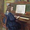 Playing The Piano by Ernest Higgins Rigg