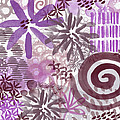 Plum And Grey Garden- Abstract Flower Painting by Linda Woods