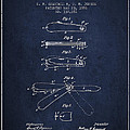 Pocket Knife Patent Drawing From 1886 - Navy Blue by Aged Pixel