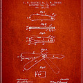 Pocket Knife Patent Drawing From 1886 - Red by Aged Pixel