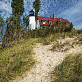 Point Betsie Lighthouse On Lake Michigan by Randall Nyhof