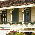 Point Fermin Lighthouse Christmas Porch by Donna Greene
