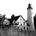 Point Iroquois Lighthouse In B/w by Sharon McLain