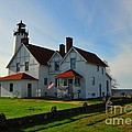 Point Iroquois Lighthouse On Whitefish Bay Michigan by Terri Gostola