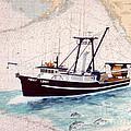 Point Loma Trawl Fishing Boat Nautical Chart Map Art by Cathy Peek