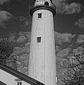 Pointe Aux Barques Lighthouse Black And White by Daniel Thompson