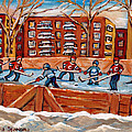 Pointe St. Charles Hockey Rink Southwest Montreal Winter City Scenes Paintings by Carole Spandau