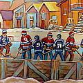 Pointe St. Charles Hockey Rinks Near Row Houses Montreal Winter City Scenes by Carole Spandau