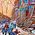 Pointe St.charles Hockey Game Near Winding Staircases Montreal Winter City Scenes by Carole Spandau