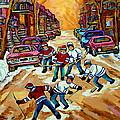 Pointe St.charles Hockey Game Winter Street Scenes Paintings by Carole Spandau