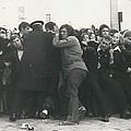 Police Hold Back Screaming Fans Trying To Get Tickets by Retro Images Archive