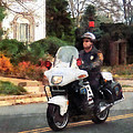 Police - Motorcycle Cop On Patrol by Susan Savad
