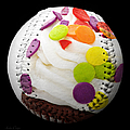 Polka Dot Cupcake Baseball Square by Andee Design