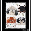 Polka Dot Family Pets With Borders - Whimsical Art by Barbara Griffin