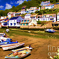 Polperro At Low Tide by David Smith