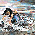 Polynesian Child Playing With Water by Miki De Goodaboom