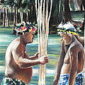 Polynesian Men With Spears by Miki De Goodaboom