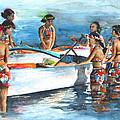 Polynesian Vahines Around Canoe by Miki De Goodaboom