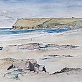 Polzeath And Pentire Head by Caroline Hervey-Bathurst