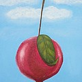 Pomegranate Sky-large Red Fruit With Big Green Leaf by Millian Glenn