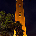 Ponce Inlet Lighthouse And Moon by Kenneth Blye