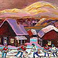 Pond Hockey Cozy Winter Scene by Carole Spandau