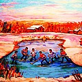 Pond Hockey Game By Montreal Hockey Artist Carole Spandau by Carole Spandau