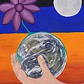 Pondering Creation Hand And Globe by Barbara St Jean