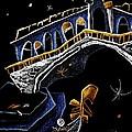 Ponte Di Rialto - Grand Canal Venise Gondola Illustration by Arte Venezia