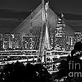 Sao Paulo - Ponte Octavio Frias De Oliveira By Night In Black And White by Carlos Alkmin