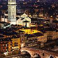 Ponte Pietra And Duomo Of Verona Dusk by Emi Cristea