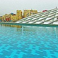 Pool And Roof Of Alexandria Library-egypt  by Ruth Hager