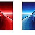 Red Blue Jet Pop Art Planes  by R Muirhead Art