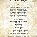 Pope Francis St. Francis Simple Prayer Butterflies by Desiderata Gallery