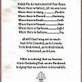 Pope Francis St. Francis Simple Prayer Prayer For Peace by Desiderata Gallery